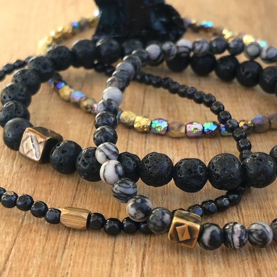 Wristocracy - Lava Stone, Zebra Agate, Gunmetal, Czech  Glass and Brass (set of 4 with option of set of 3)