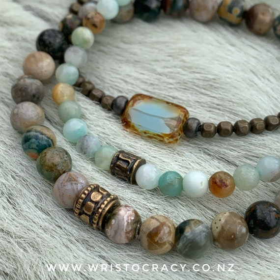 Wristocracy - Polished Ocean Jasper, Black and Gold Amazonite and Antique Brass  - (set of 3)