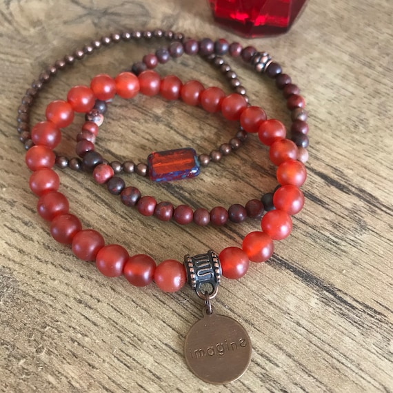 Wristocracy - Carnelian, Poppy Jasper & Antiqued Copper bracelets (set of 3)
