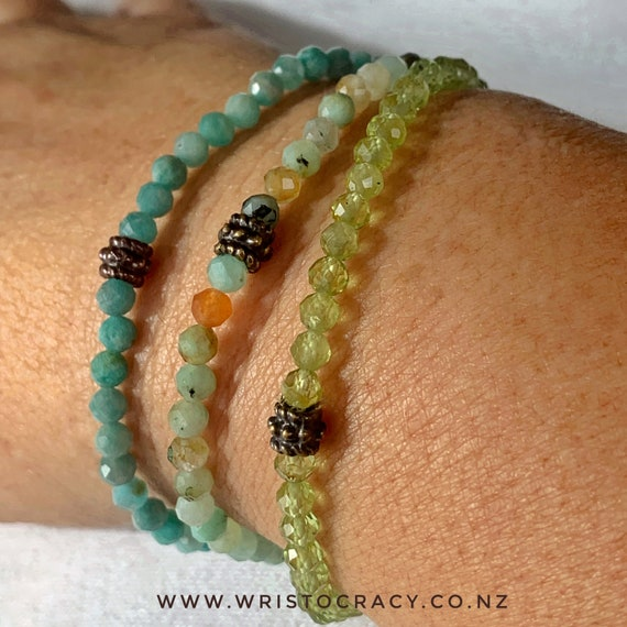 NEW Wristocracy - Small Pastel Gemstone stackers (brass/bronze joiner)