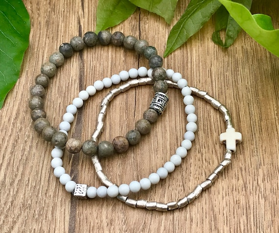 LAST CHANCE - DISCONTINUED - Wristocracy - Jasper, Feldspar & Nickel bracelets (set of 3)