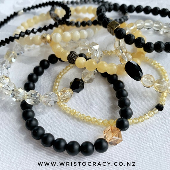 Wristocracy - Honey Jade, Matte Black Onyx Agate and Honey Zirconia + Separates
