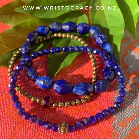 LIMITED TIME - SALE - Wristocracy - Lapis Lazuli and Antiqued Brass  (set of 3)
