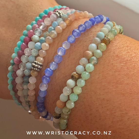 Wristocracy - Small Pastel Gemstone stackers (silver joiner)