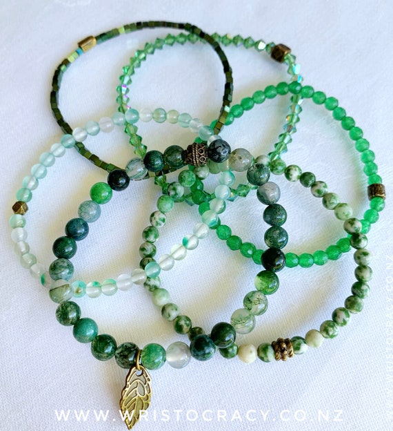 Wristocracy - Green Single Bracelets to coordinate with Moss Agate and Tree Agate sets