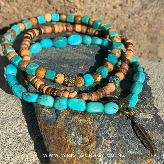 Wristocracy - Turquoise, Picture Jasper and coconut shell with antiqued brass Bracelets (set of 3) LIMITED EDITION