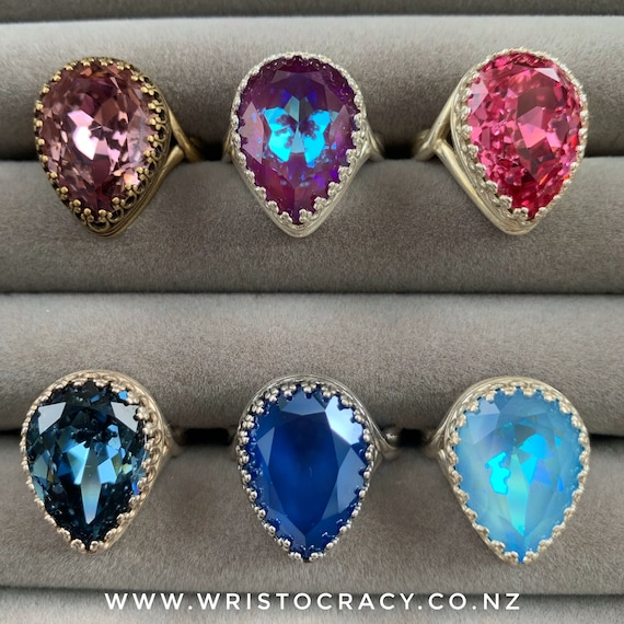 Wristocracy - Swarovski Crystal Rings - Large Pear - Antique Brass / Silver Plated
