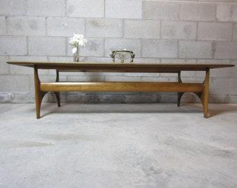 Mid Century Lane Sculpted Walnut U0026 Smokey Glass Coffee Table