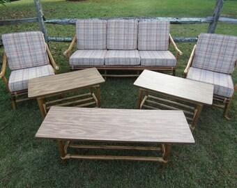 Rare Mid Century Modern John Wisner For Ficks Reed Rattan Living Area Set