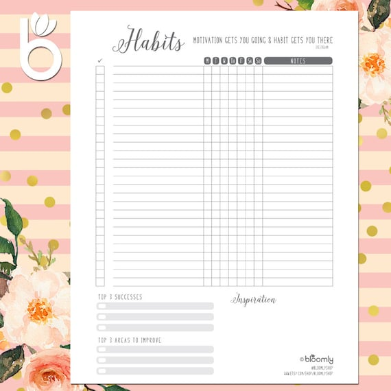 weekly habit tracker printable daily habits bullet journal etsy