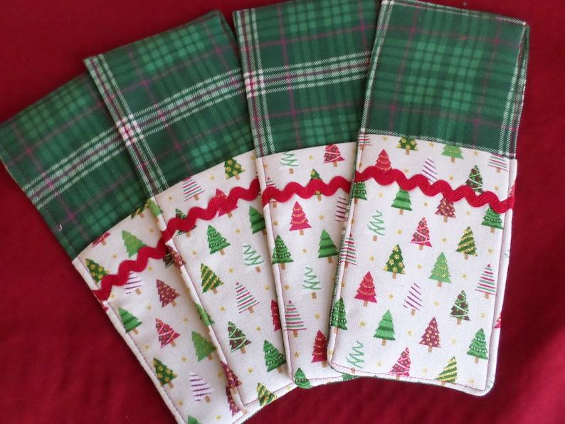 Silverware Pockets Set of 2 Christmas Trees Ready to ship