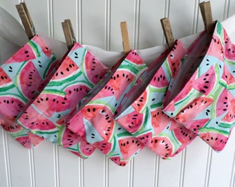 Reusable Snack Bags Bundle of 5 / Save 15% / Ready to ship / Watermelon