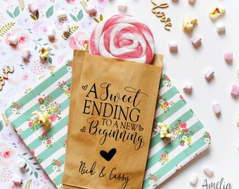 A sweet ending to a new beginning - wedding favor bags - wedding candy bags - custom wedding favor - dessert table - thank you kraft bags