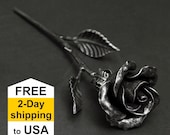 Iron Anniversary Gift for Wife - Hand Forged Metal Rose -  6th Anniversary