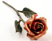 Hand Forged Red Iron Rose - 6th Anniversary Gift for Wife