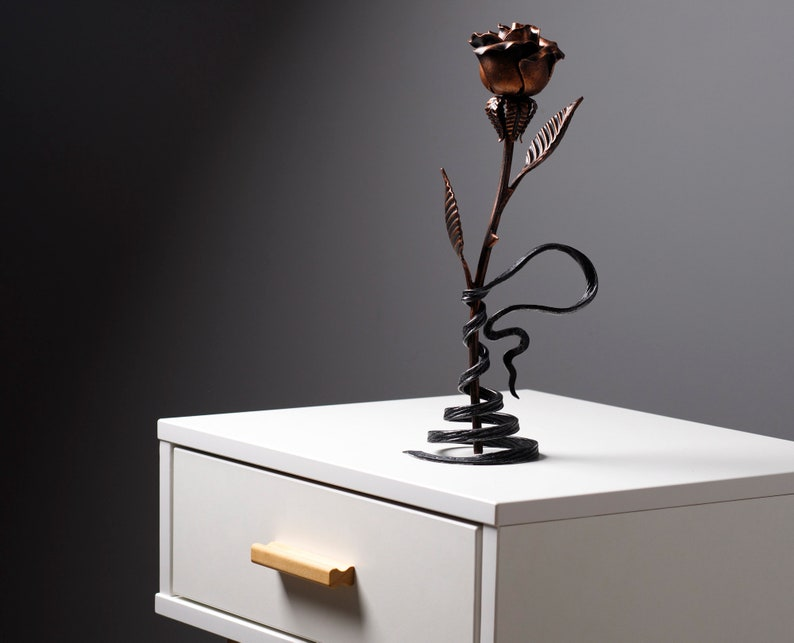 7th Year Wedding Anniversary Gift for Wife Copper Rose