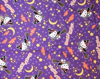 Fabric remnant - hello kitty halloween - witch kitty