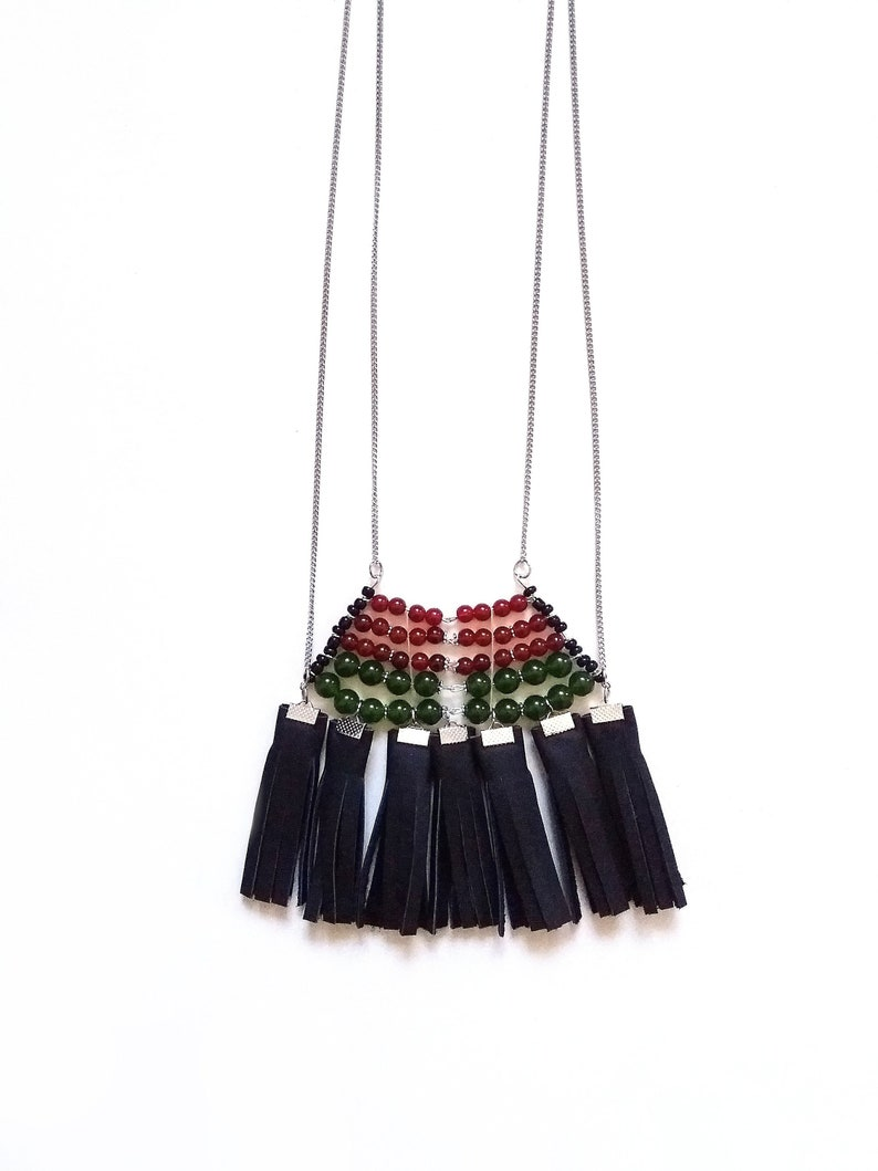 Gift For Her Fringe Green Jade Long Tassel Leather Necklace Free Spirit Beadwork Necklace Big Black Bold Chunky Bohemian Necklace