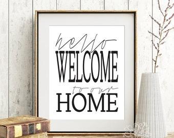 "8x10 11x14 ""Hello welcome to our home"" Print, Digital Print, Subway Art, word art, printable art, home decor, kitchen print, farmhouse decor"