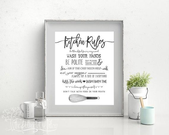 Digitale Küche | 8 X 10 11 X 14 Digital Kuche Regeln Kuche Druck Digitaldruck Etsy