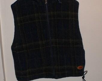 Vintage VTG Woolrich Patterned Fleece Vest w/ Hood & Full Zip