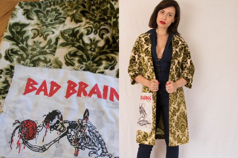 BAD BRAINS COAT Vintage 70s Punk Hardcore Merch Tapestry coat Bad Brains  Patch Band Tee 1970s Vintage women small sm