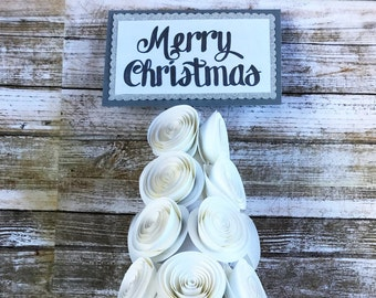 Paper Flower Christmas Tree - Paper Flower Christmas Decor - Holiday Tree Decor - Christmas Tree Decor - Merry Christmas Tree - Table Decor