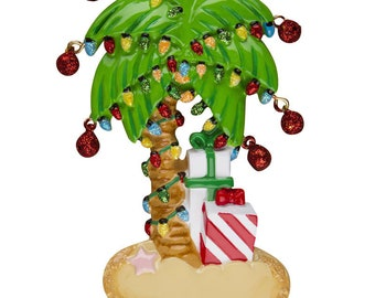 christmas palm tree personalized christmas ornament christmas ornament christmas decoration for tree christmas tree ornament