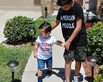 American Muscle/boys/toddler/babies/onsie/tee/bbq/memorial day/flag day/4th of july