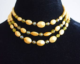 Vintage 1960s Yellow Three-String Necklace