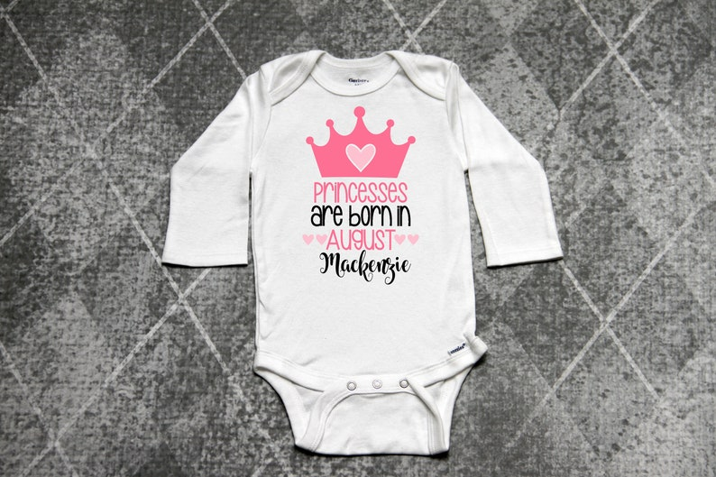 Girls Birthday Shirt Princesses Are Born In August Baby