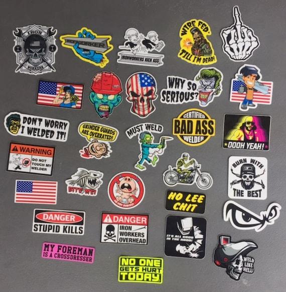 IRONWORKER and WELDER Hard Hat Stickers 28+ HardHat Sticker & Decals,  Helmet, Tool Box, Welders, Iron Workers, Macho Man Free Shipping