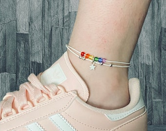 AKTAP LGBT String Ankle Bracelet Gay Lesbian Pride Jewelry Rainbow Friendship Gift for Couple