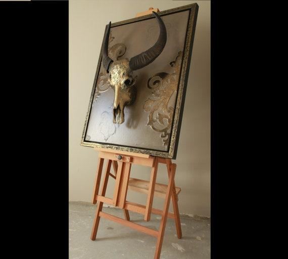 Bronzed Effect Long Horn Bull Skull with Gun Bronze Sculpture Home Decoration