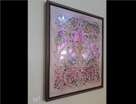 Peinture Avec Ornement Peinture Ou Panneau De Mur Avec Motif Damassé De Bois Gaufré Hôtel Et Bar Decor Art Mural