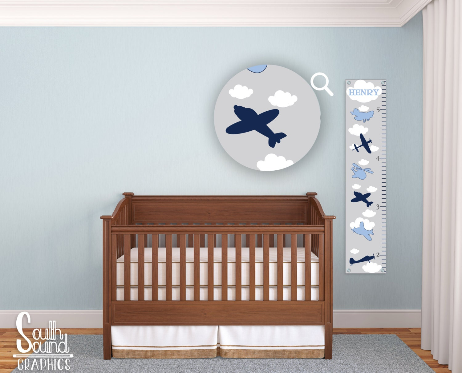 Growth Chart For Boys Kids Room Wall Decor Blue Airplanes Etsy