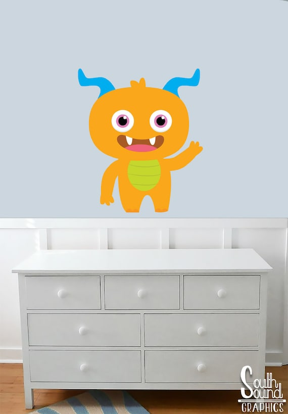 Fabric Wall Decal for Boys Nursery and Kids Rooms - Orange Monster Room  Wall Decor - Monster Wall Graphics - Children\'s Bedroom Decor Decals