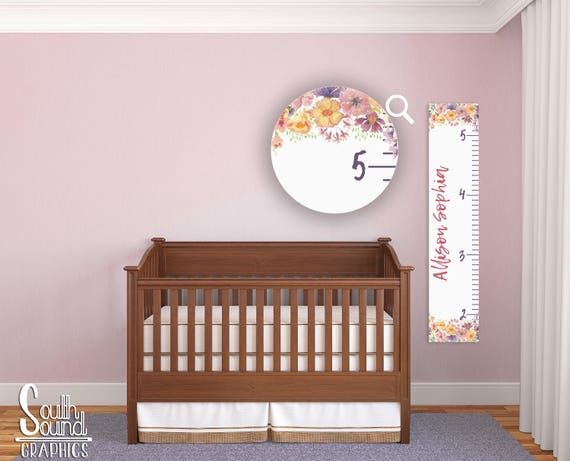 Growth Chart For Girls Kids Room Wall Decor Floral Custom Etsy