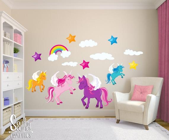 Stoff-Wandtattoo Set für Mädchen-Kinderzimmer und Kinder Zimmer - Einhorn  Zimmer Wand-Dekor - Einhorn-Wand-Grafik - Kinder-Schlafzimmer-Wand-Kunst