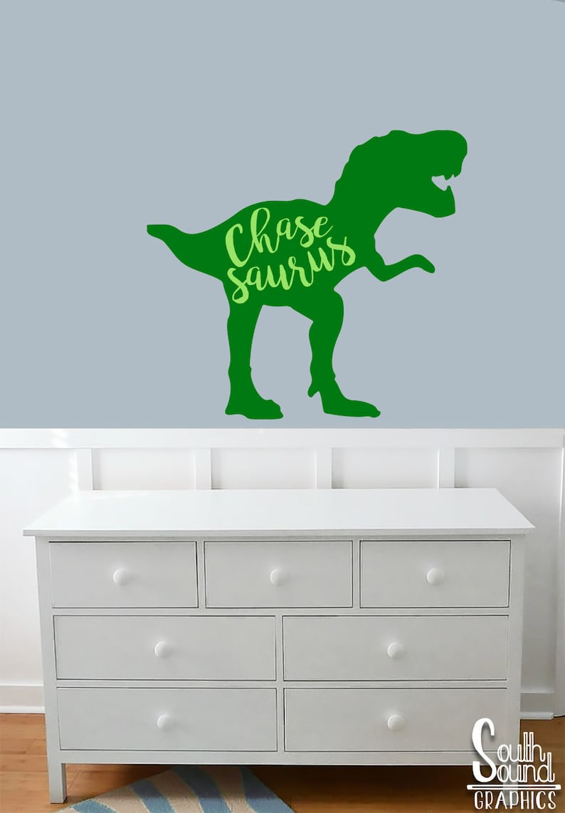 Fabric Wall Decal for Boys Nursery and Kids Rooms - Dinosaur Room Wall  Decor - Dino Wall Graphics - T-rex Children\'s Name Bedroom Decor