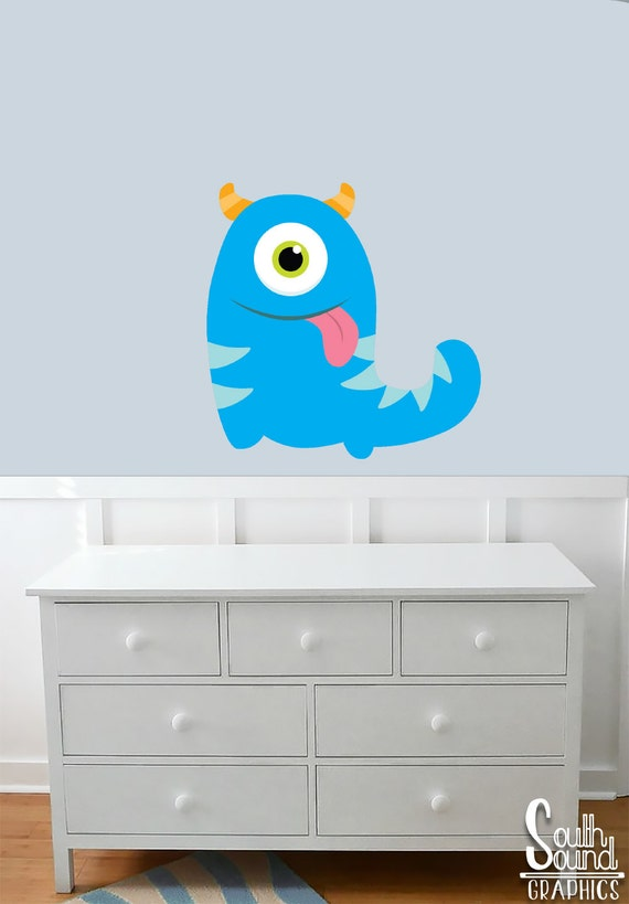 Fabric Wall Decal for Boys Nursery and Kids Rooms - Blue Monster Room Wall  Decor - Monster Wall Graphics - Children\'s Bedroom Decor Decals