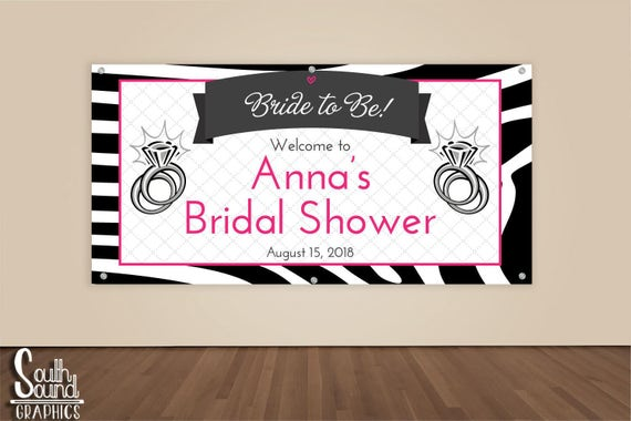Bridal Shower Banner Custom Hot Pink Zebra Wedding
