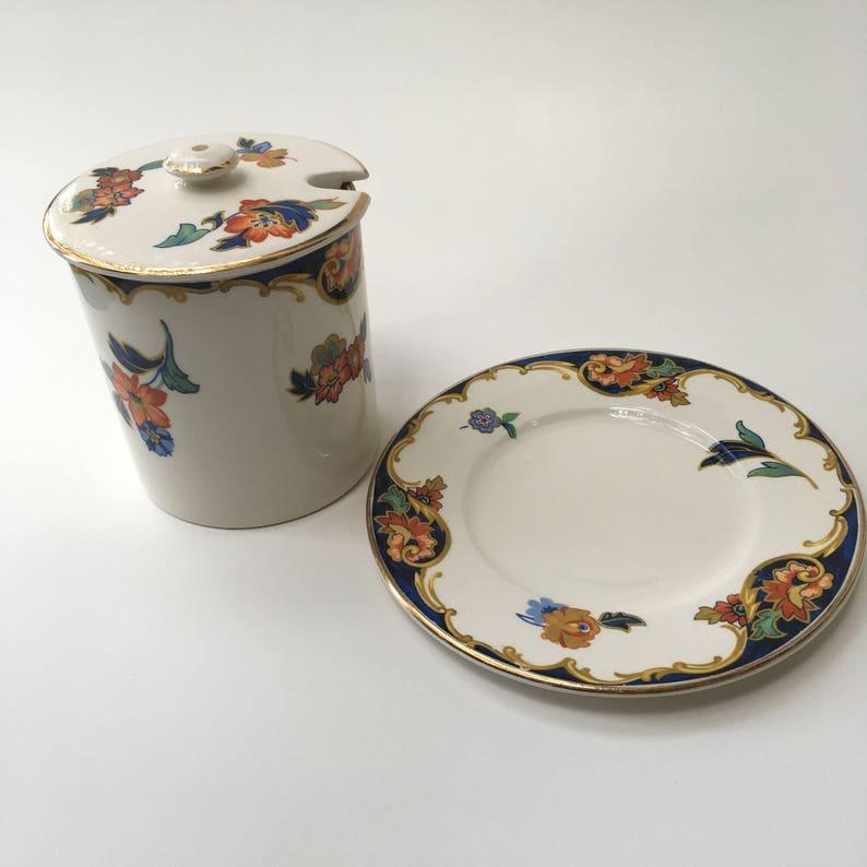 hostess Antique Sugar Bowl Plate Set tea party tea time pot and lid formal dining vintage
