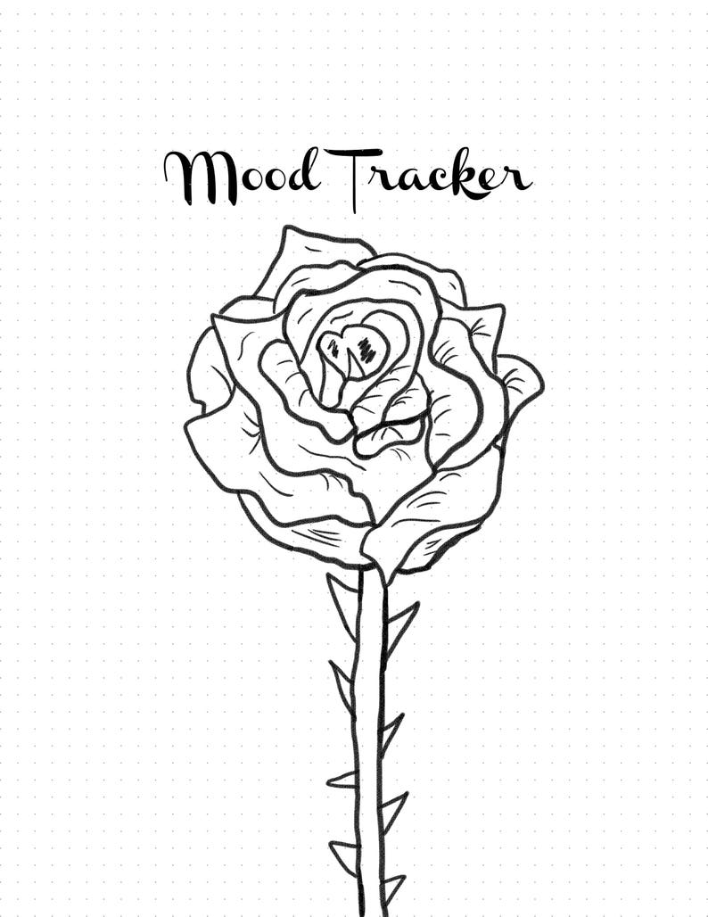picture about Printable Rose identify Printable Rose Temper Tracker for Bujo