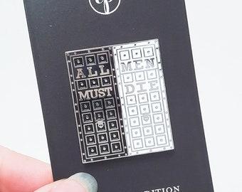 House of Black and White enamel pin - GoT, all men must die, valar morghulis, arya, hard soft enamel, throne, literature,feminist game