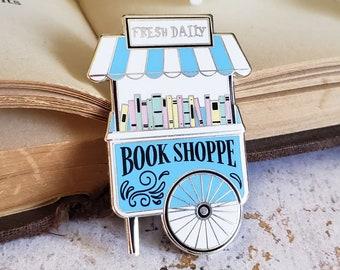 Book Shop pastel enamel pin - hard enamel, library, cute pin, librarian gift, book enamel pin,bookworm gift, girly, gift for reader