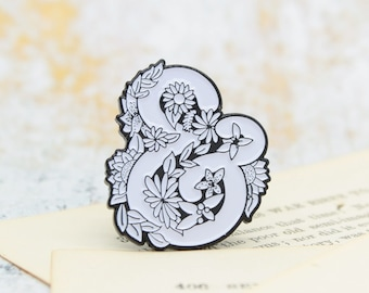 Floral ampersand pin- soft enamel, pretty pin, cute pin, reader gift, writer gift, book pin, literary, librarian, teacher, for mom, flair