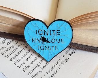 Ignite My Love soft enamel pin - shatter me, young adult book, literature, mafi, cute pin, bookish pin, reader gift, librarian gift, lanyard