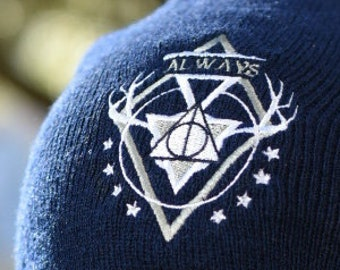 Always Embroidered Beanie - magical, magic school, harry potter, patronus, hallows, embroidery, winter fashion, nerd hat, geek wear,fall