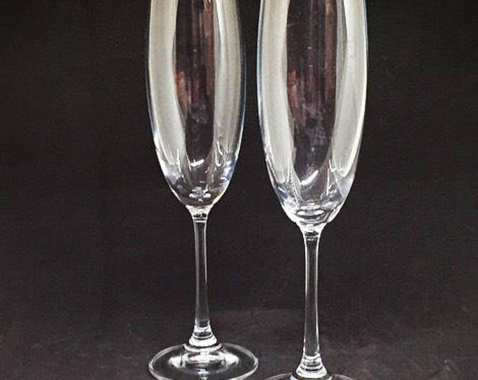 European Gourmet Crystal Wedding Flutes • FREE SHIPPING